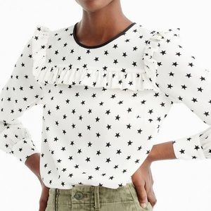 NWT J.Crew Tall Ruffle Silk Top In Star Print
